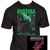 Godzilla- World Destruction Tour on front & back on a black shirt