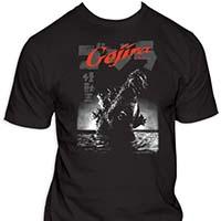 Godzilla- Gojira on a black shirt