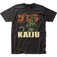 Godzilla- Kaiju on a charcoal ringspun cotton shirt