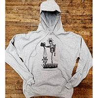 Anarchy (Punk Watering Flower) on a heather grey hooded sweatshirt