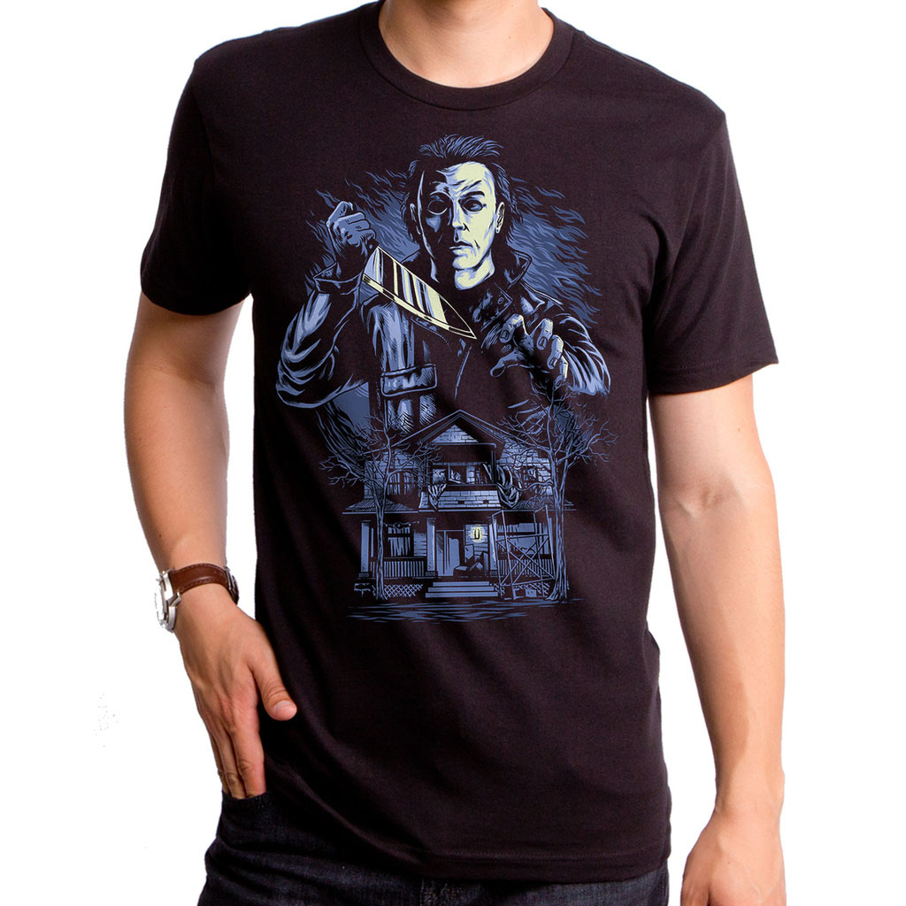 Halloween- Michael Myers Drawing on a black ringspun cotton shirt by Goodie Two Sleeves