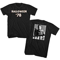 Halloween- Halloween 78 on front, Michael Myers on back on a black ringspun cotton shirt