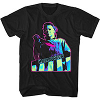 Halloween- Neon Knife Pic on a black ringspun cotton shirt