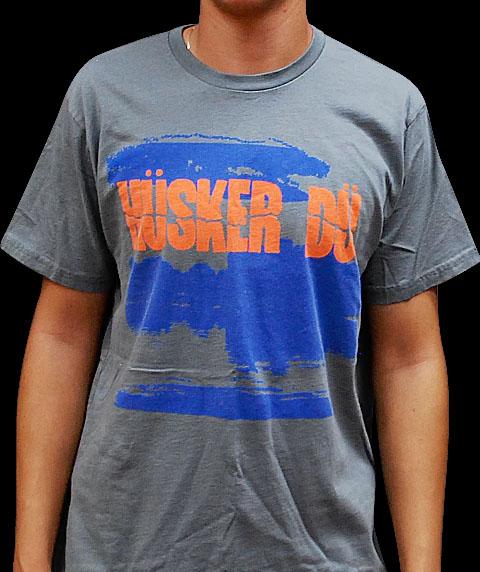 Husker Du- New Day Rising (Orange Logo) on a grey ringspun cotton shirt