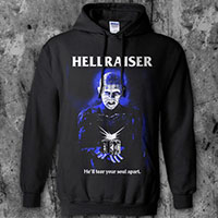 Hellraiser- He'll Tear Your Soul Apart on a black hooded sweatshirt