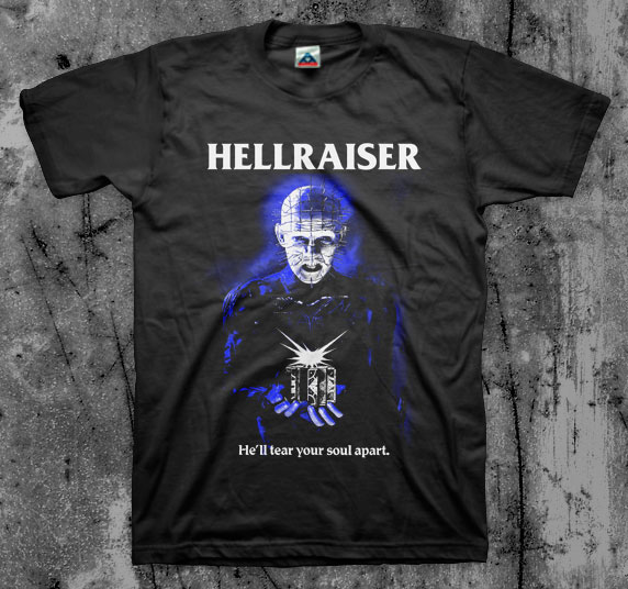 Hellraiser- He'll Tear Your Soul Apart on a black shirt