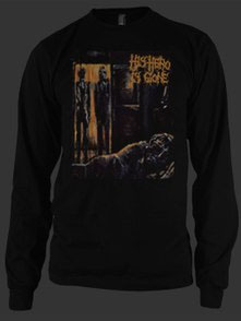 His Hero Is Gone- Dead Of The Night on a black LONG SLEEVE ringspun cotton shirt