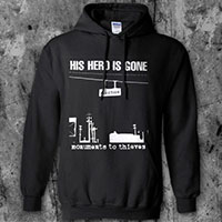 His Hero Is Gone- Monuments To Thieves on a black hooded sweatshirt