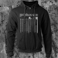 His Hero Is Gone- The Plot Sickens on a black zip up hooded sweatshirt
