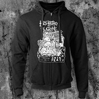 His Hero Is Gone- Skin Feast on a black zip up hooded sweatshirt