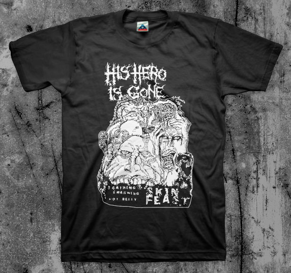 His Hero Is Gone- Skin Feast on a black YOUTH sized shirt