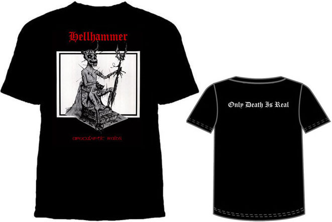 Hellhammer- Apocalyptic Raids on a black shirt