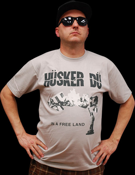 Husker Du- In A Free Land on a grey ringspun cotton shirt