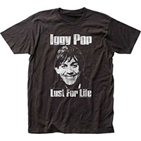 Iggy Pop- Lust For Life on a charcoal ringspun cotton shirt