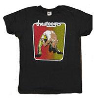 Stooges- Iggy Back Bend (Red/Gold) on a black ringspun cotton shirt