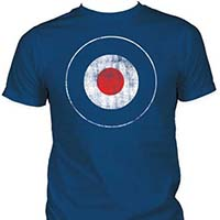 Distressed Mod Target on a blue ringspun cotton shirt