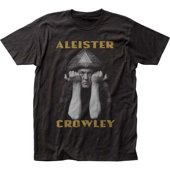 Aleister Crowley- Pic on a black ringspun cotton shirt