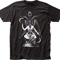 Baphomet on a black ringspun cotton shirt