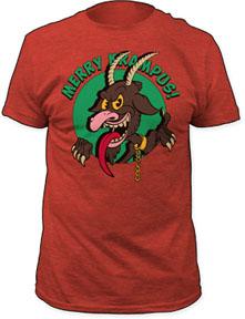 Merry Krampus on a heather red ringspun cotton shirt (Sale price!)
