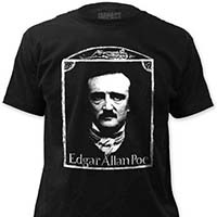 Edgar Allan Poe- Face on a black ringspun cotton shirt