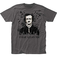 Edgar Allan Poe- Ravens on a charcoal ringspun cotton shirt