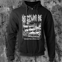 Insect Warfare- Evolved Into Obliteration on a black zip up hooded sweatshirt