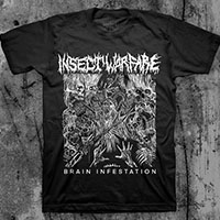 Insect Warfare- Brain Infestation on a black ringspun cotton shirt