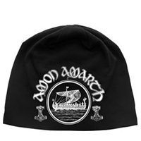 Amon Amarth- Vikings on a black jersey discharge print beanie