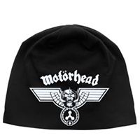 Motorhead- Hammered on a black jersey discharge print beanie