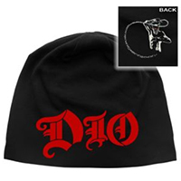 Dio- Logo on front, Murray on back on a black jersey discharge print beanie