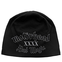 Motorhead- Bad Magic on a black jersey discharge print beanie