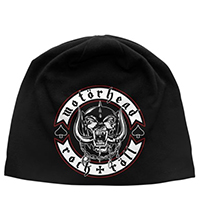 Motorhead- Rock & Roll on a black jersey discharge print beanie