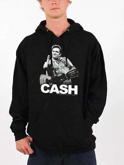 Johnny Cash- Finger on a black hooded sweatshirt (Sale price!)