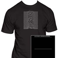 Joy Division- Unknown Pleasures Art on front, Logo on back on a black ringspun cotton shirt
