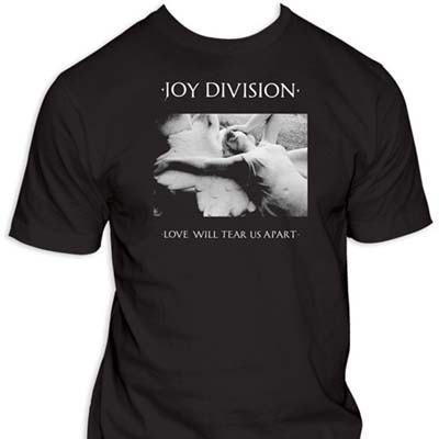 Joy Division- Love Will Tear Us Apart Cover on a black shirt