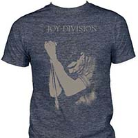 Joy Division- Ian Curtis on a heather navy ringspun cotton shirt