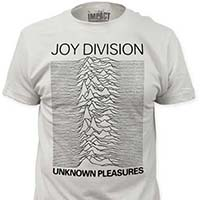 Joy Division- Unknown Pleasures (Black Ink) on a white ringspun cotton shirt