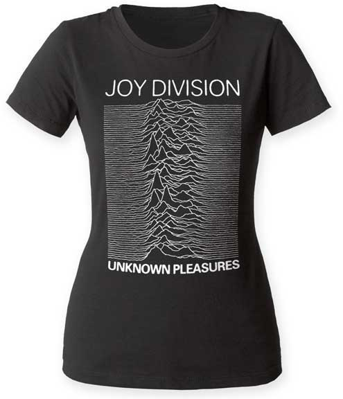 Joy Division- Unknown Pleasures on a black girls fitted shirt