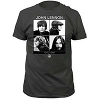 John Lennon- 1940-1980 on a charcoal ringspun cotton shirt