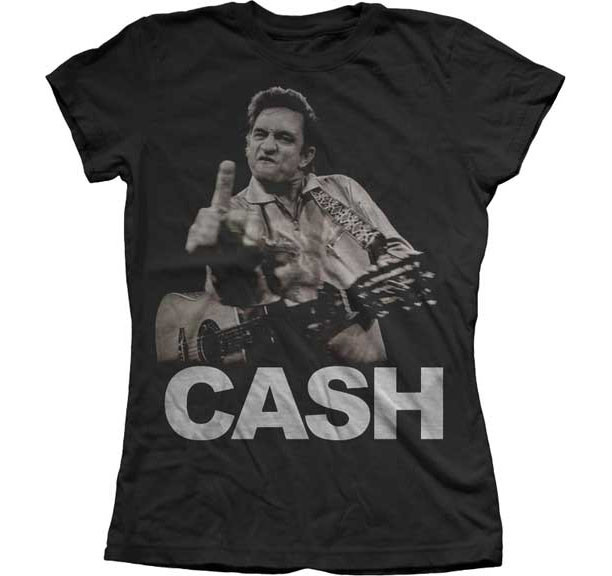Johnny Cash- Finger on a black girls fitted shirt