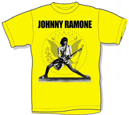 Johnny Ramone- Playing Guitar on a banana ringspun cotton shirt (Sale price!)