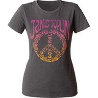 Janis Joplin- Love Peace Rock N Roll on a grey girls fitted shirt