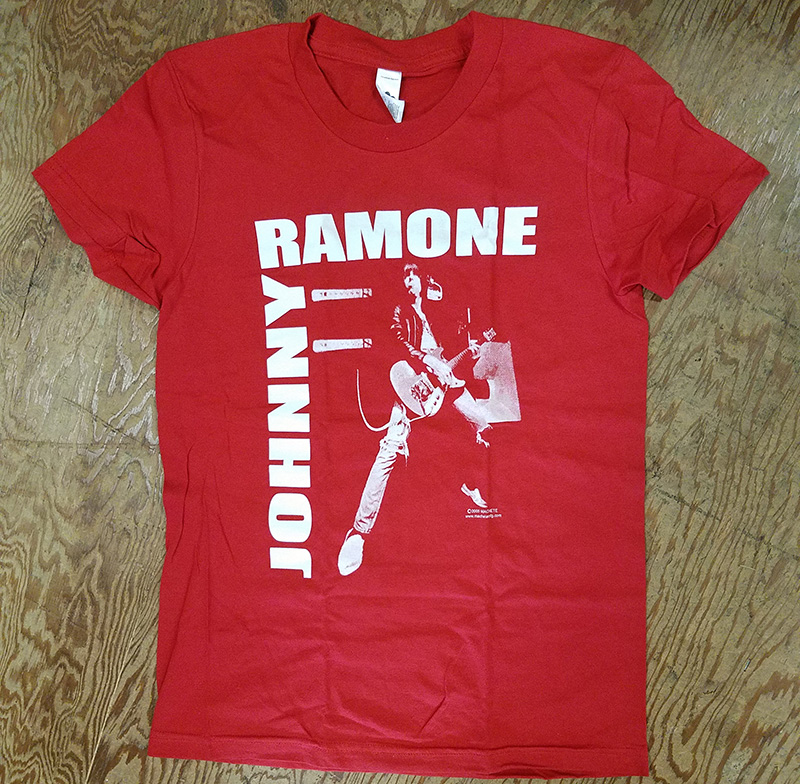 Johnny Ramone- Live Pic on a red girls fitted shirt (Sale price!)
