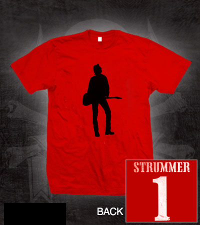 Joe Strummer- Silhouette on front, Strummer on back on a red ringspun cotton shirt (Sale price!)