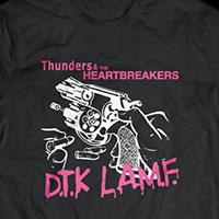 Johnny Thunders- DTK LAMF on a black ringspun cotton shirt
