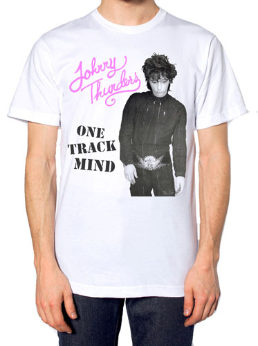 Johnny Thunders- One Track Mind on a white ringspun cotton shirt