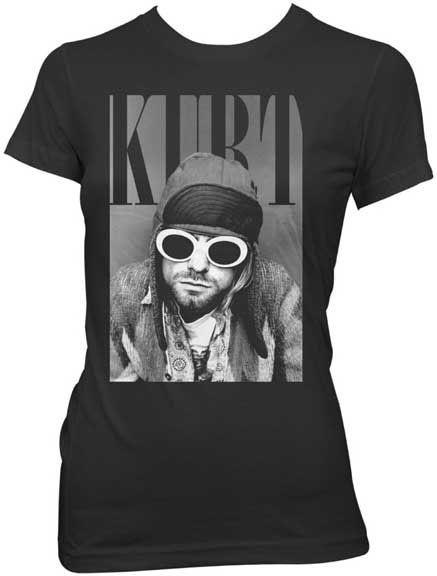 Kurt Cobain- Sunglasses on a black girls fitted shirt