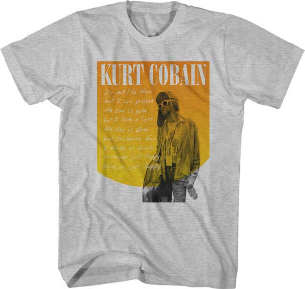 Kurt Cobain- Just Happy on a heather grey shirt
