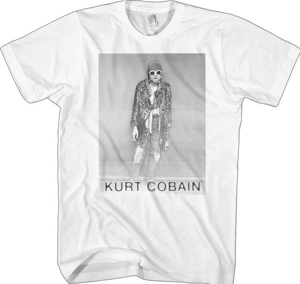 Kurt Cobain- B&W Pic on a white ringspun cotton shirt