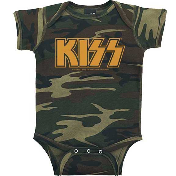 KISS- Logo on a camo onesie (S-6m, M- 12m, L- 18m)